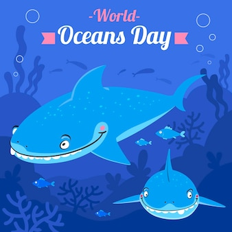 World oceans day flat style