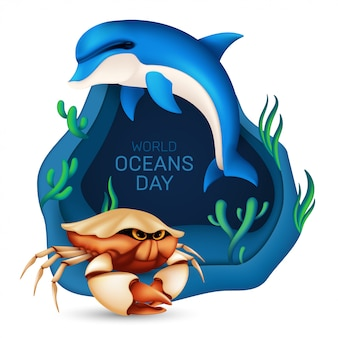 World oceans day graphic design concept of the ecosystem.  illustration with a realistic dolphin, crab, coral and seaweed on blue background with origami waves isolated on white