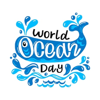 World oceans day hand drawn design