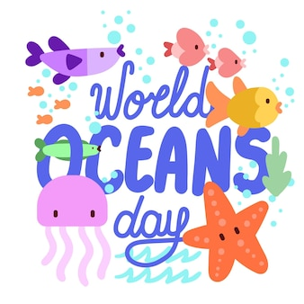 World oceans day hand drawn style