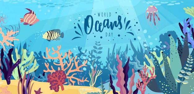 World oceans day hand lettering text. ocean day celebration.  illustration.