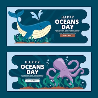World oceans day horizontal banners template
