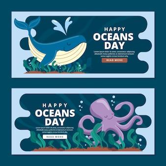 Шаблон горизонтальных баннеров всемирный день океанов