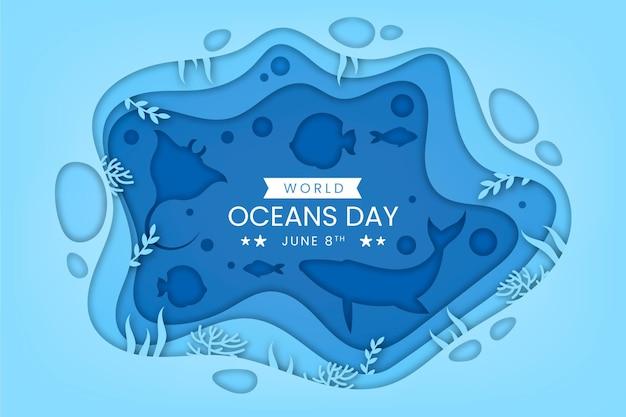 종이 스타일의 세계 바다의 날 그림