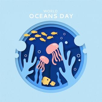 종이 스타일의 세계 바다의 날 그림 무료 벡터