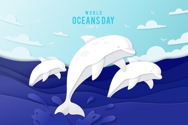 紙のスタイルで世界海洋デーのイラスト