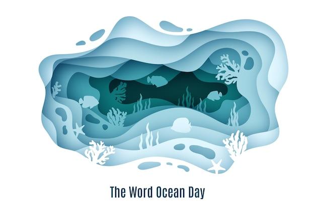 Иллюстрация всемирного дня океанов в бумажном стиле Бесплатные векторы
