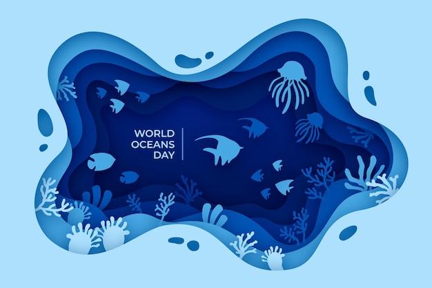 Иллюстрация всемирного дня океанов в бумажном стиле