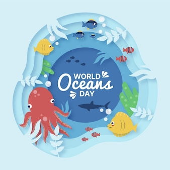 World oceans day illustration in paper style