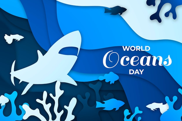 Всемирный день океанов в бумажном стиле