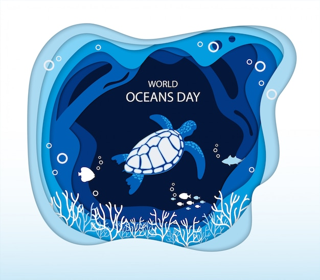 青い海の波とウミガメと世界海洋デーインフォグラフィック