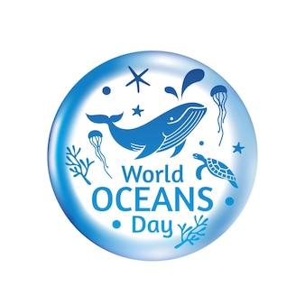 Шаблон дизайна логотипа всемирного дня океанов