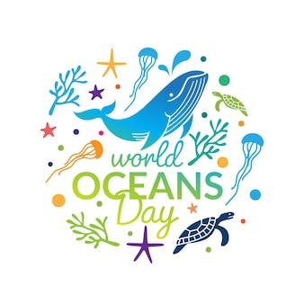 世界海洋デーのロゴのデザイン テンプレート