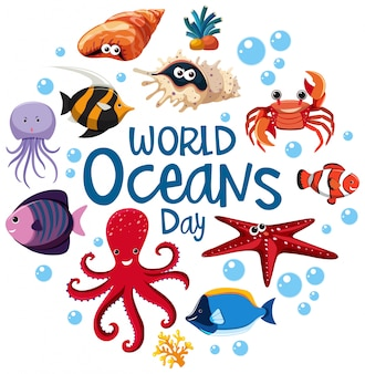 世界海洋デーのロゴまたは異なる海の動物のバナー