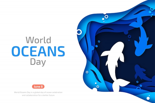 World oceans day. paper art of sea waves and fishes