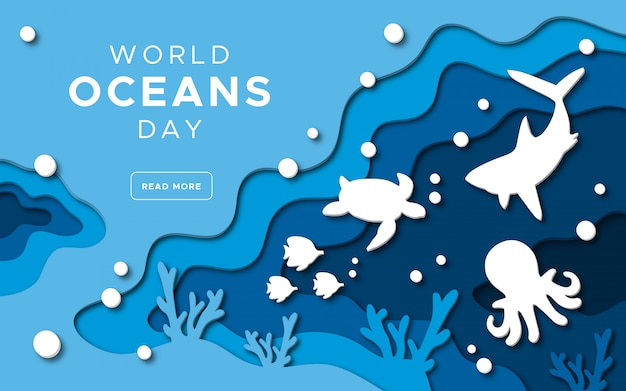 World oceans day in paper cut style