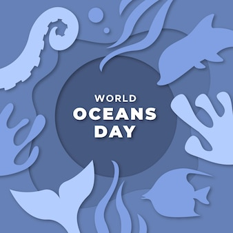 World oceans day in paper design