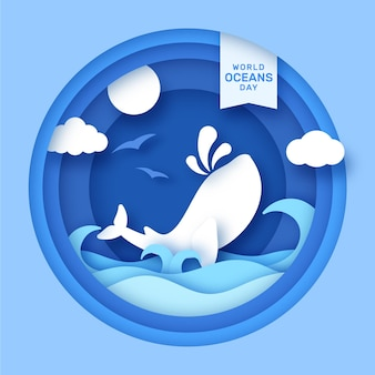 World oceans day in paper style concept