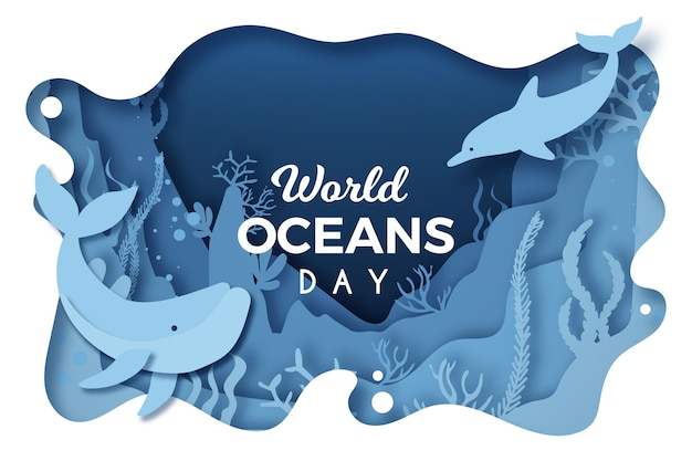 World oceans day in paper style with dolphin and whale