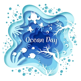 World oceans day in paper style