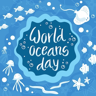 World oceans day surrounded by underwater lives