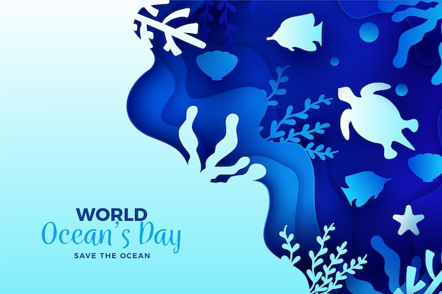 World oceans day wallpaper in paper style
