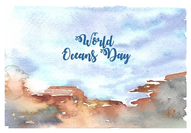 World oceans day watercolor card with hand painting under the sea