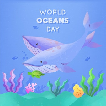 World oceans day watercolor design