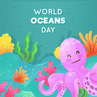 World oceans day watercolor style
