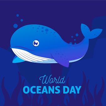 World oceans day with blue whale