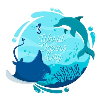 World oceans day with dolphin and stingray