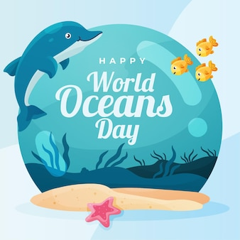 World oceans day with dolphin