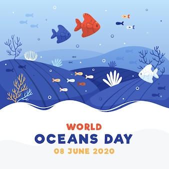 World oceans day with fish underwater