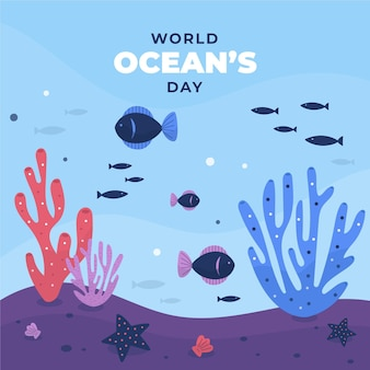 World oceans day with fish