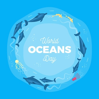 World oceans day with marine creatures