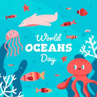 World oceans day with octopus and fish