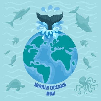World oceans day with planet and fish