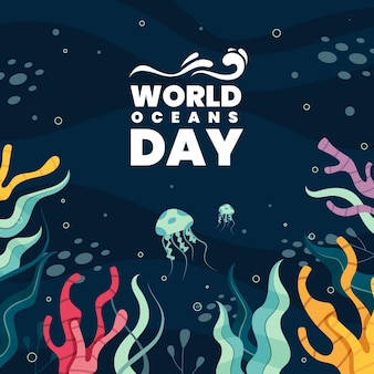 World oceans day with vegetation and jellyfish