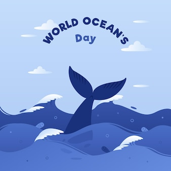 World oceans day with whale tale and waves