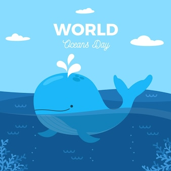World oceans day with whale