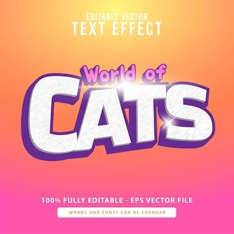 고양이의 세계, 흰색 3d 글꼴 효과 또는 텍스트 스타일 디자인이 있는 밝은 보라색, 영화 제목, 포스터 및 인쇄 제품에 적합