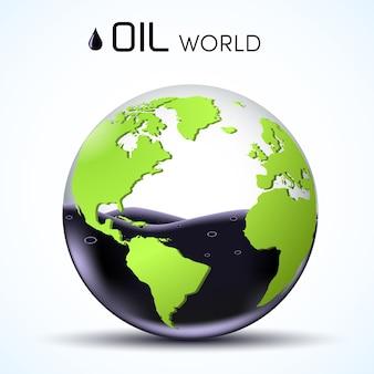 世界の石油埋蔵量。メガネ世界ストック背景コンセプト。