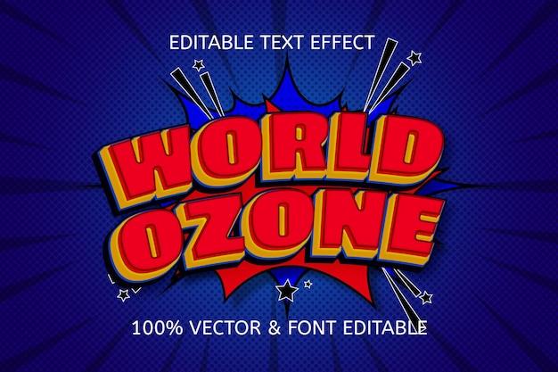 世界のオゾン色赤青編集可能なテキスト効果