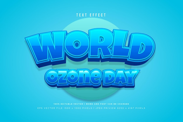 World ozone day 3d text effect on tosca background