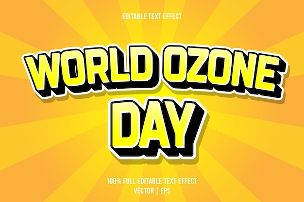 World ozone day editable text effect 3 dimension emboss cartoon style