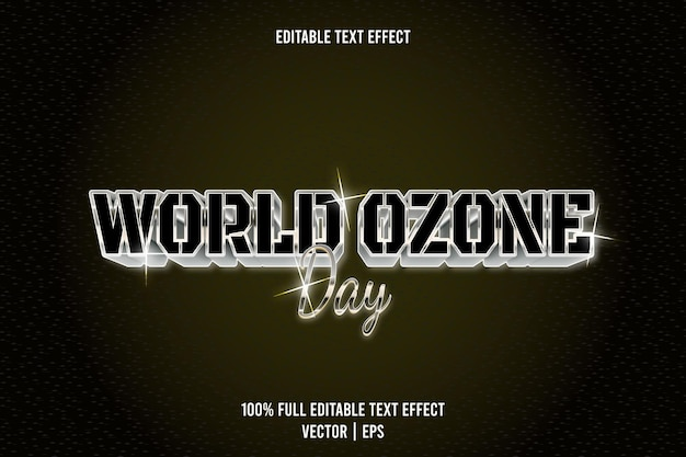 World ozone day editable text effect 3 dimension emboss luxury style