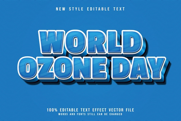 世界オゾンデー編集可能なテキスト効果3次元エンボスシンプルな漫画スタイル