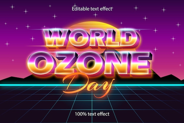 World ozone day editable text effect retro with neon style
