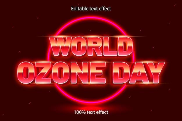 Редактируемый текстовый эффект всемирного дня озона в стиле ретро в неоновом стиле