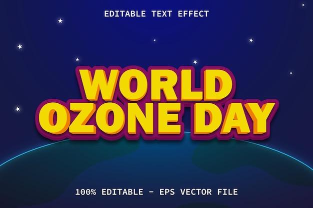 現代の漫画スタイルの編集可能なテキスト効果のある世界オゾンデー